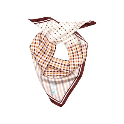 Dámský šátek Aquascutum s oranžovo-hnědými kostičkami