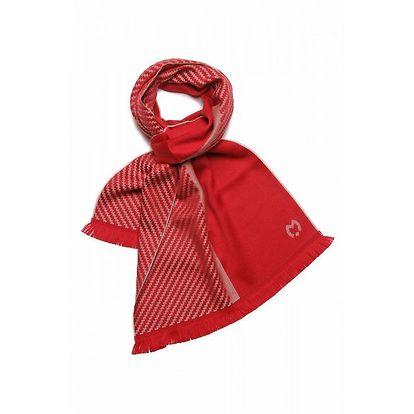 Dámská červená šála Mila Schön se vzorkem