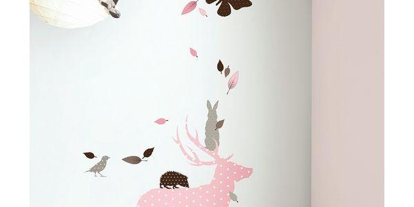 Samolepky Fabric Friends - růžový jelen s kamarády