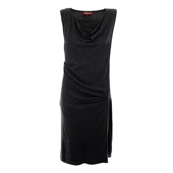 Dámské šedé vlněné šaty s hedvábím Max Mara