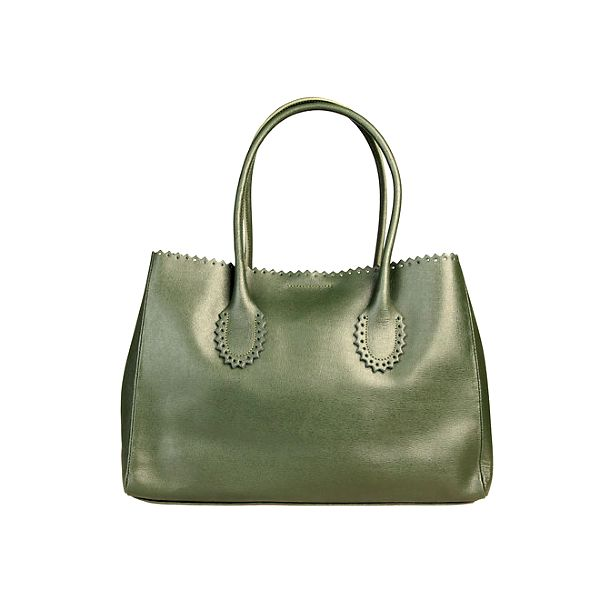 Dámská zelená kabelka s ozdobným lemem Made in Italia