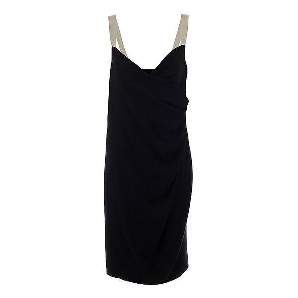 Dámské černé večerní šaty s béžovými ramínky Max Mara