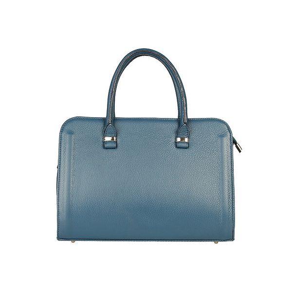 Dámská modrá kufříková kabelka z kůže Made in Italia