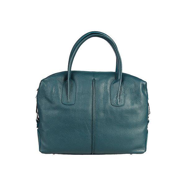 Dámská zeleno-modrá kožená kabelka Made in Italia