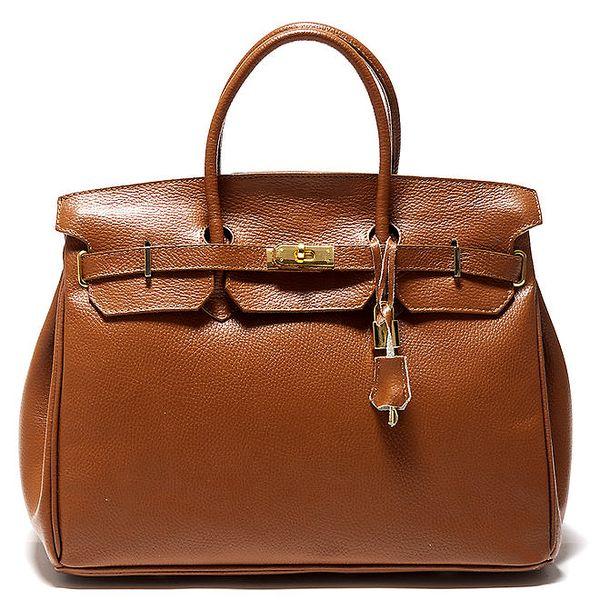 Dámská koňakově hnědá kufříková kožená kabelka Isabella Rhea