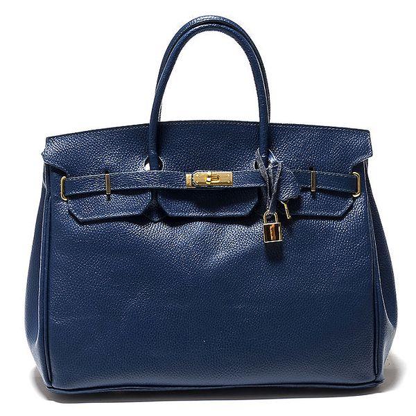 Dámská modrá kufříková kožená kabelka Isabella Rhea