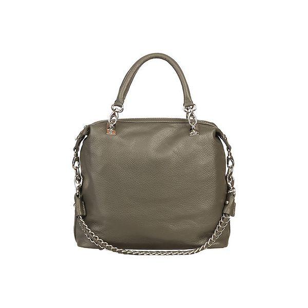 Dámská šedá kabelka s řetízkem Made in Italia