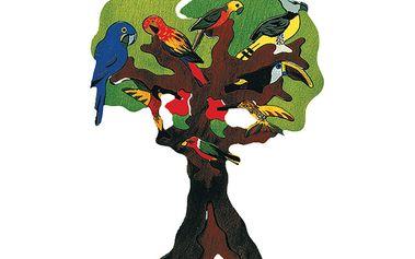 Papoušci a kolibříci - masivní dřevěné puzzle