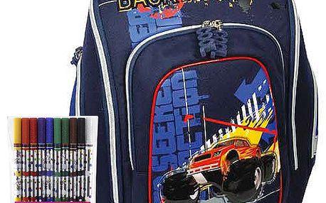 Pokrokový školní batoh Cherry s motivem terénního auta z kolekce COOL, barva modrá.