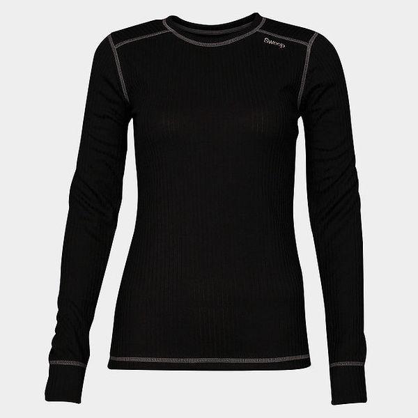 Dámské černé funkční tričko Sweep s dlouhým rukávem a bílým švem