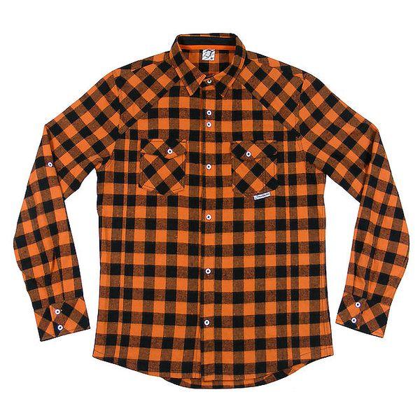 Pánská oranžovo-černá kostkovaná košile Seventy Seven