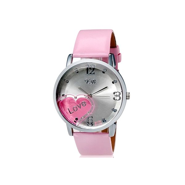 Dámské hodinky s dekorací srdce - růžové a poštovné ZDARMA! - 34706296