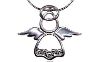 Náhrdelník andílek s krystaly Swarovski - bílý (crystal)