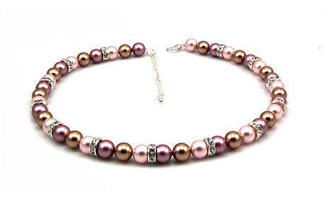 Dámský perlový náhrdelník Royal Adamas s růžovými perlami