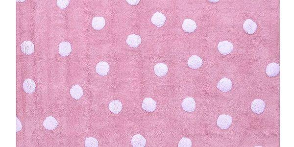 Dětský koberec růžový s bílými puntíky 120x160 cm