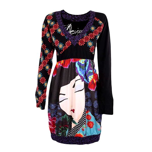 Dámské šaty s gejšou a květinami Desigual