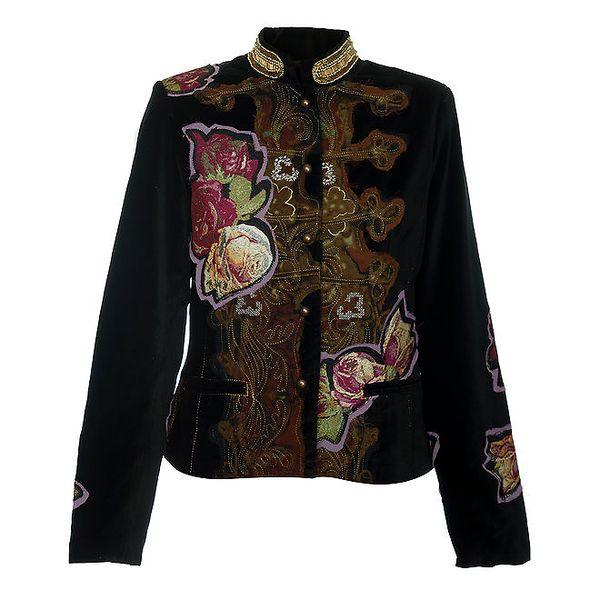 Dámský černý kabátek s výšivkami Desigual