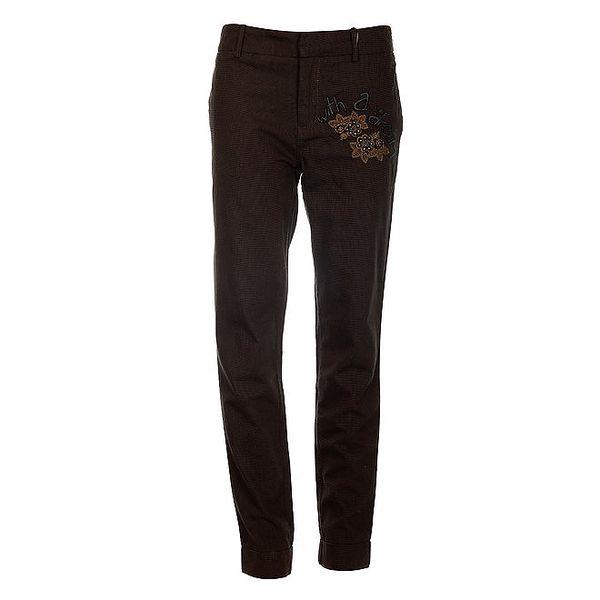 Dámské hnědé bavlněné kalhoty Desigual s výšivkou