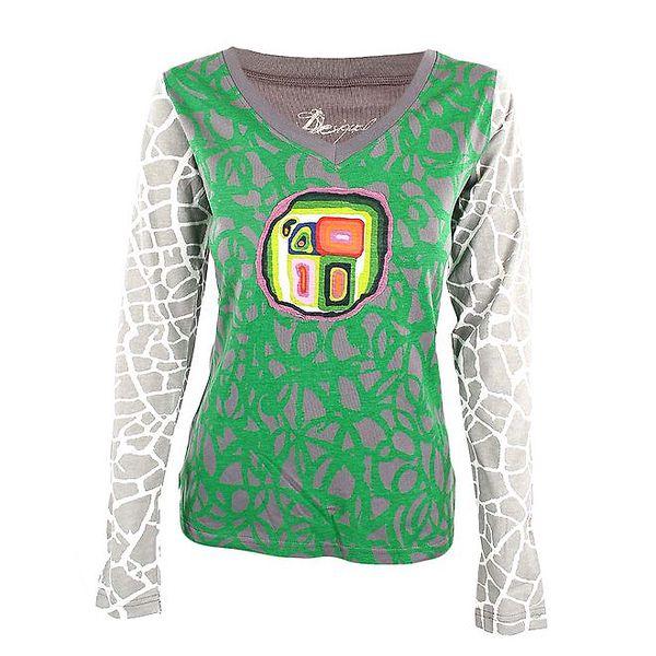 Dámské zeleno-šedé tričko s dlouhým rukávem Desigual