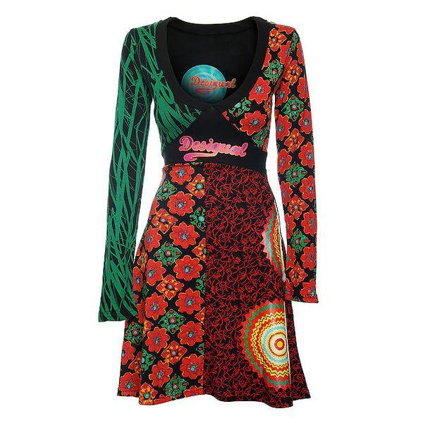 Dámské červeno-zelené vzorované šaty Desigual