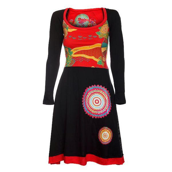 Dámské černo-červené šaty s potiskem Desigual