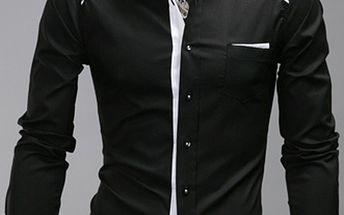 Pánská vypasovaná košile v černé a bílé variantě a poštovné ZDARMA! - 35906349