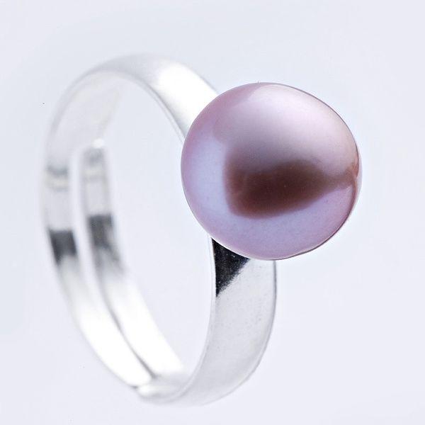 Stříbrný prsten s růžovou perlou 9,5 mm