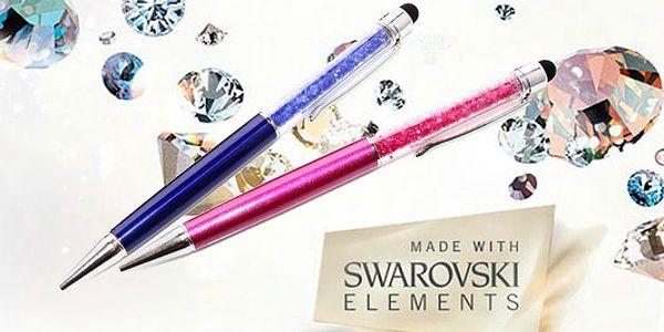 Luxusní kuličkové pero s kamínky Swarovski v 11 barvách