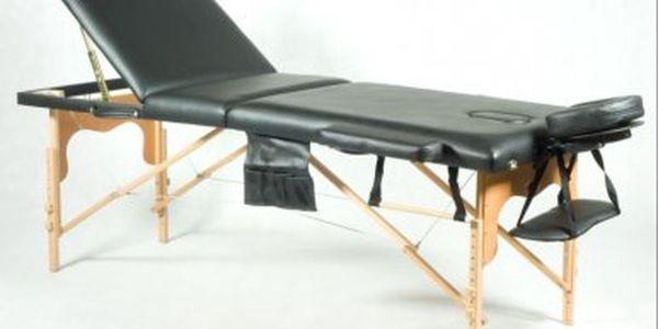 Znovu zlevněno! Černý třísegmentový masážní stůl s příslušenstvím a taškou jen za 2999 Kč!