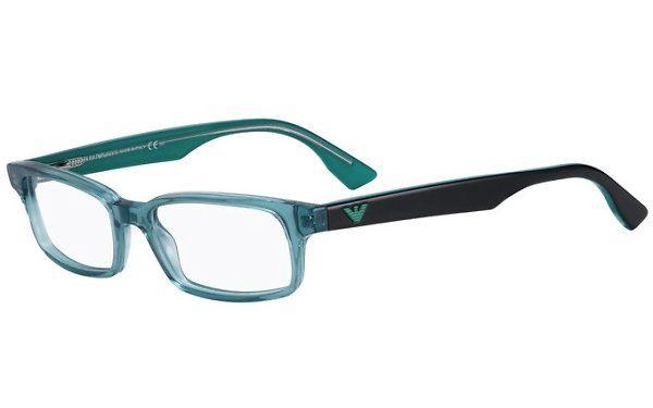 Tyrkysovo-černé hranaté brýle Emporio Armani