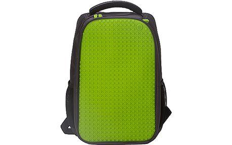 Kreativní pixelový studentský batoh i pro notebook - šedý/zelený