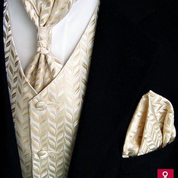 Nejlevnější svatební set, vestička, kravata, regata, kapesníček