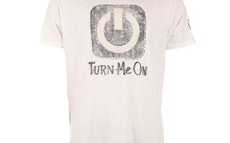 Pánské bílé triko s šedivým potiskem Replay
