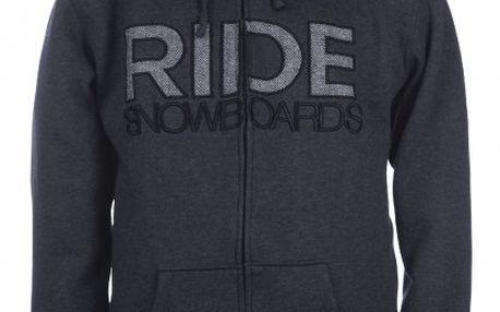 Ride Heathered Black - pánská mikina s kapucí ve slim fit stylu