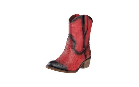 Červené koženkové kozačky Ana Lublin - Campbell - v kovbojském stylu - skladem / vel. 38