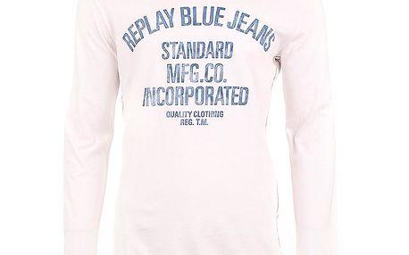 Pánské bílé triko s dlouhým rukávem a potiskem Replay