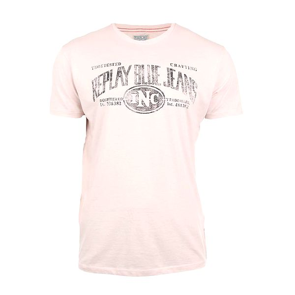 Pánské krémové tričko s potiskem Replay