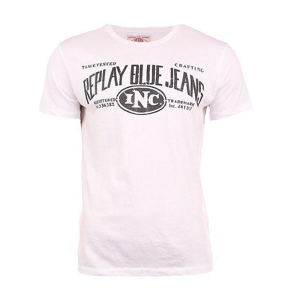 Pánské bílé tričko s nápisem na hrudi Replay