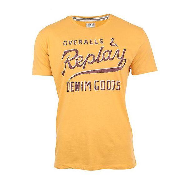Pánské žluté tričko s vintage potiskem Replay