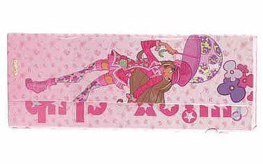Nádherný penál ve tvaru psaníčka s motivem víly Flora a deštník z kolekce Winx Club, barva růžová.