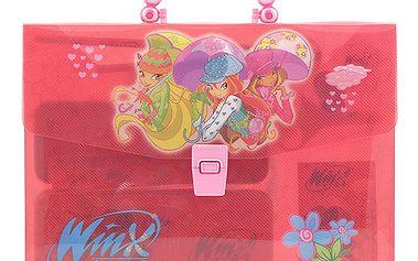 Originální školní sada v moderním kufříku s motivem kouzelných víl a deštníky z kolekce Winx Club, barva červená.