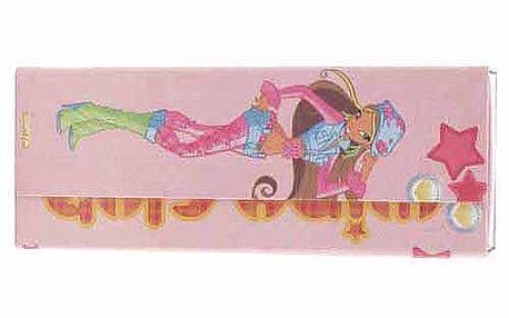 Nádherný penál ve tvaru psaníčka s motivem víly Flora z kolekce Winx Club, barva růžová.