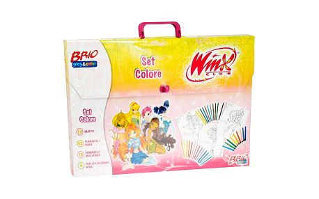 Výjimečná kreativní sada na krelsení s obrázky kouzelných víl z kolekce Winx Club, žluto-růžový kufřík.