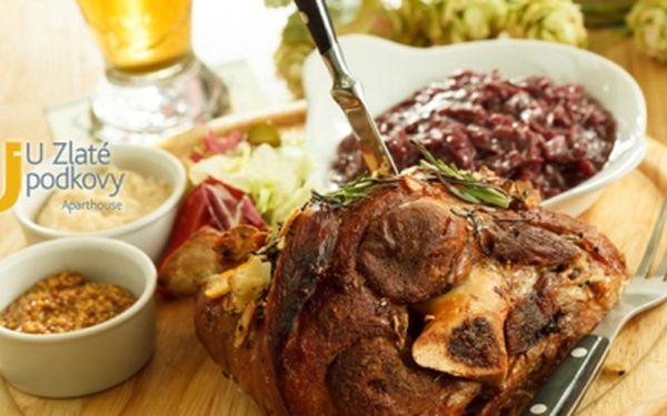 Obří vepřové koleno jen za 125 kč v restauraci u zlaté podkovy přímo pod pražským hradem! Až 1,5 kg pečené vepřové koleno naložené ve staročeské marinádě a podávané s křenem a hořčicí! Sleva 50%!