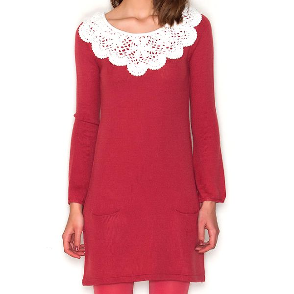 Dámské červené šaty s bílým límečkem Pepa Loves