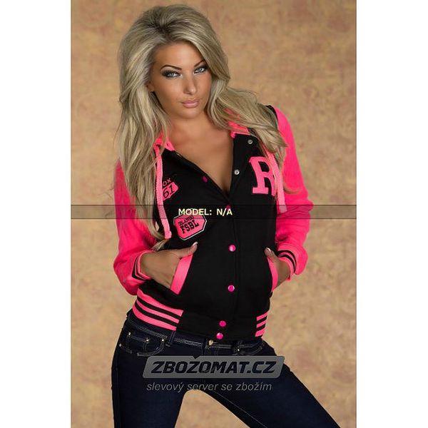Černo růžová sportovní mikina s kapucí