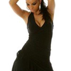 Dámské společenské nebo letní šaty se svůdným výstřihem a asymetrickou sukní s volánem Queen O.F.