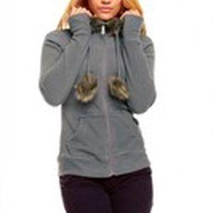 Krásný dámský moderní kabátek s kapucí lemovanou jemným umělým kožíškem Queen O.F.