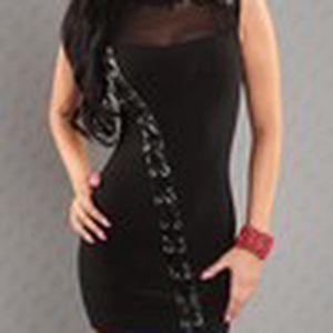 Dámské černé sexy šaty bez rukávů s originálním koženým šněrováním Queen O.F.