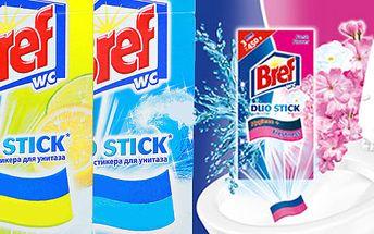 5 balení po 3ks Bref Wc Duo Stick Fresh Flower samolepící WC proužky pro hygienickou čistotu a svěží toaletu! Snadné a hygienicky bezpečné použití 3 proužky až pro 450 spláchnutí!